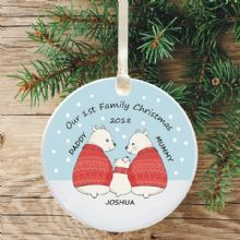Ceramic Keepsake 1st Christmas as a Family Tree Decoration - Polar Bears in Red Jumpers Design